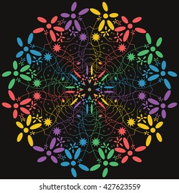 Mandala varicolored. Black background. Rainbow colors.