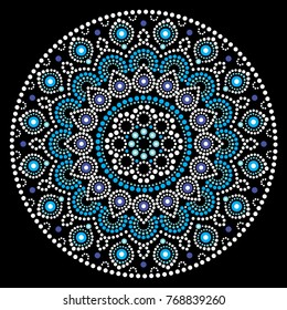 Mandala vector art, Australian dot painting white and blue design, Aboriginal folk art bohemian style.  Mandalas doted background inspired by traditional art from Australia, boho decoration