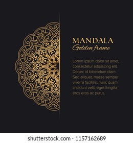 Mandala vector decorative border with sample text. Luxury template with oriental round element for identity, design and decor