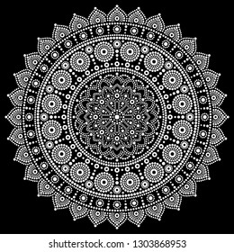 Mandala vector design, Aboriginal dot painting style, Australian folk art boho style in white on black background.   Mandalas dot pattern in red and pink inspired by traditional art from Australia