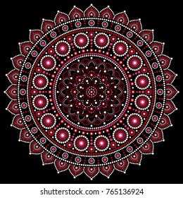 Mandala vector design, Aboriginal dot painting style, Australian folk art boho style Mandalas dot pattern in red and pink inspired by traditional art from Australia on black background