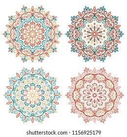 Mandala Vector Design Element. Colorful round ornaments. Decorative flower pattern. Stylized floral chakra symbol for meditation yoga logo. Complex flourish weave medallion. Tattoo prints collection