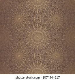 Mandala Vector Design Element. Golden round ornament decoration. Line flower seamless pattern. Stylized floral motif. Chakra symbol for yoga logo. Complex flourish weave medallion. Tattoo print