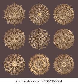 Mandala Vector Design Element. Round ornament decoration. Line flower pattern. Stylized floral motif. Chakra symbol for meditation yoga logo. Complex flourish weave medallion. Tattoo prints collection