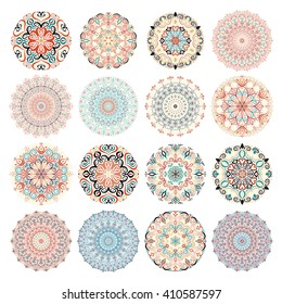 Mandala vector design elements. Round ornament decoration. Colorful blue patterns. Floral motif. Stylized flower. Chakra symbol for meditation yoga logo. Complex flourish weave medallion. Tattoo print