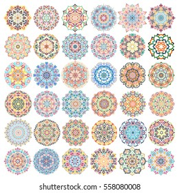 Mandala Vector Design Elements. Round ornament decoration. Colorful flower patterns. Stylized floral motif. Chakra symbol for meditation yoga logo. Complex flourish weave medallion. Tattoo print