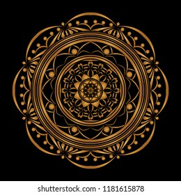 Mandala vector design. gold on black background. Design print for pattern, background, tile, ebroidery.  Set 2