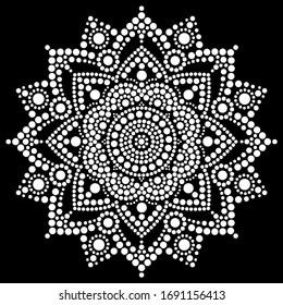 Mandala vector dot art, Aboriginal dot painting, retro folk design inspired by traditional art from Australia