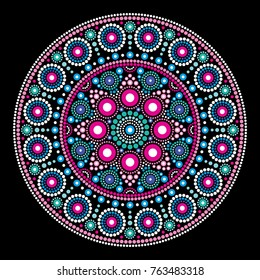 Mandala vector dot painting style, Aboriginal folk art, Australian traditional ethnic design   Abstract mandala with dots, circles inspired by traditional, indigenous art from Australia, geometric com