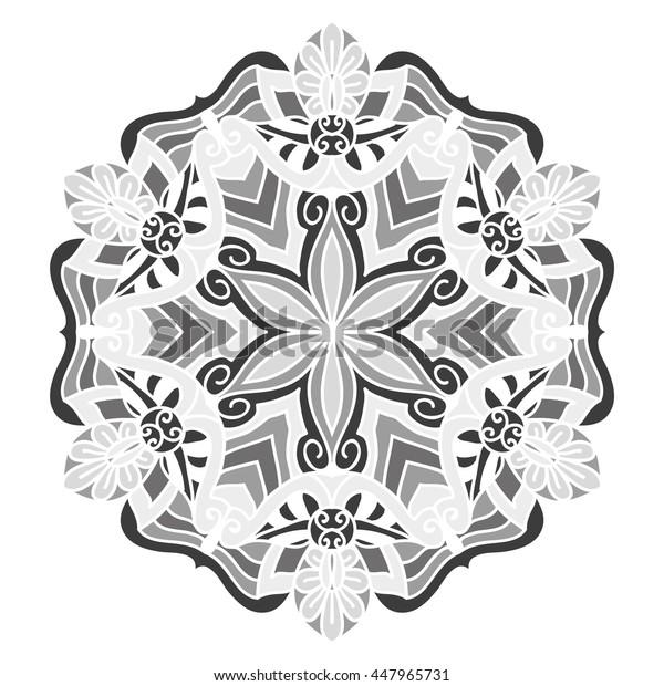 Mandala. Vector Ethnic Oriental Circle Ornament. Monochrome Colors. Shades of Grey