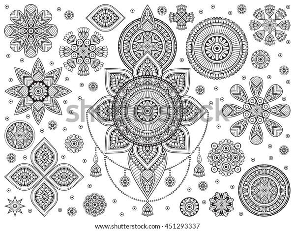 Mandala Vektor Mandala Cicek Mandala Cicek Stok Vektor