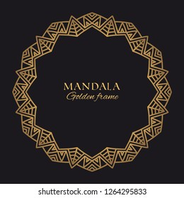 Mandala vector geometric round frame. Oriental ornament luxury design. Golden decorative graphic element on black background