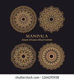 Mandala vector logo elements set. Collection of ethnic ornaments luxury design. Golden decorative graphic templates on black background