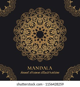 Mandala vector luxury illustration with corner frames. Golden decorative ornament on black background. Hand drawn ornate element for identity, prints and premium design