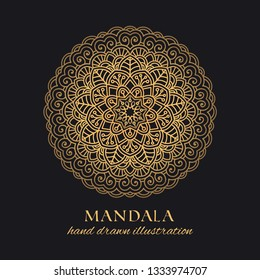 Mandala vector luxury illustration. Golden decorative ornament on black background. Hand drawn ornate element for identity, prints and premium design