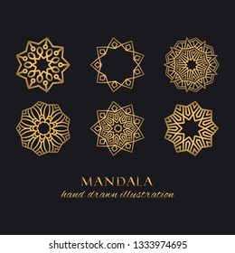 Mandala vector luxury illustrations set. Golden decorative ornaments on black background. Hand drawn ornate elements for logo, identity, prints and premium design