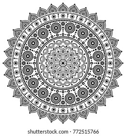 Mandala vector monochrome design, Aboriginal dot painting style, Australian folk art boho style.   Mandalas dot pattern in black and white inspired by traditional art from Australia