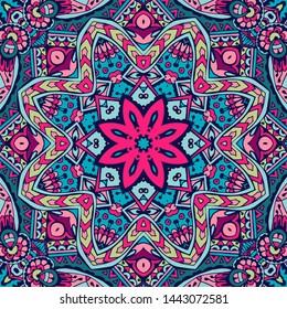 Mandala vector pattern. Indian ethnic flower seamless design. Festive colorful doodle mandala pattern. Geometric decorative frame border