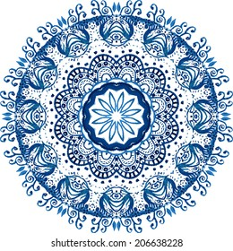 Mandala vector pattern. Watercolor vector blue background. Scrappbooking hand drawn design. Beautiful circle background. Hand drawn card template. Geometrical template. Indian art.