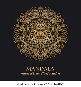 Mandala vector round frame luxury design. Golden ethnic graphic element on black background. Hand drawn template for gold embossing