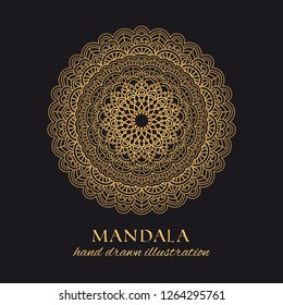 Mandala vector round luxury design. Golden ornate graphic element on black background. Hand drawn template for gold embossing