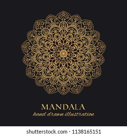 Mandala vector round ornament luxury design. Golden ethnic element on black background. Hand drawn template for prints and decor