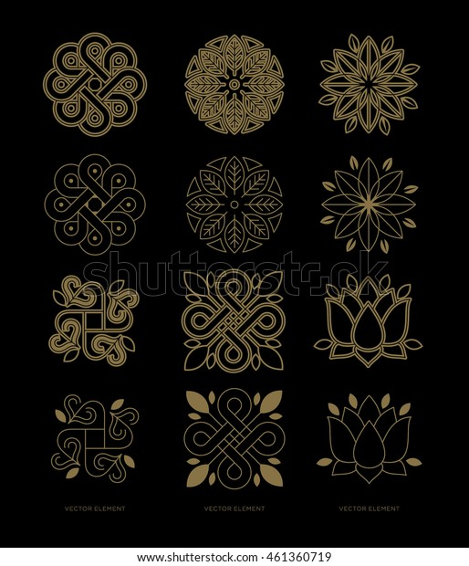 Mandala. Vector set  templates and emblems in trendy linear style  - floral and natural decorative elements for the development of a logo and packaging