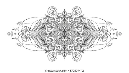 Mandala Vector tattoo. Perfect card for any kind of design, birthday and other holiday, kaleidoscope, medallion, coloring book. Yoga, india, arabic, Islam motifs. Black and white background.