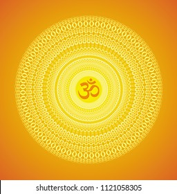 Mandala in yellow and orange tones with the Aum / Om / Ohm sign on a yellow background. Openwork ornament. Vector drawing.
