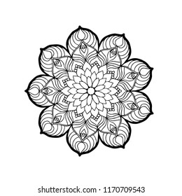 Mandala.Circle lace ornament, round ornamental geometric doily pattern, black and white collection.Book art.