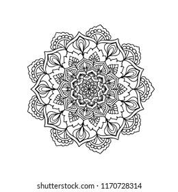 Mandala.Circle lace ornament, round ornamental geometric doily pattern, black and white collection.