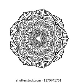 Mandala.Indian Henna tattoo pattern or background.Ornate Circular Mandala Design, Black and White Line Art.