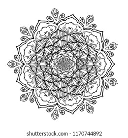 Mandala,Indian Henna tattoo pattern or background,Ornate Circular Mandala Design, Black and White Line Art.