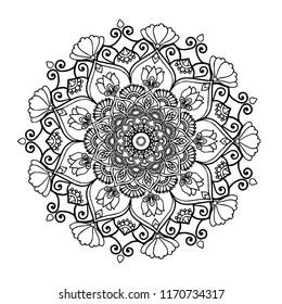 Mandala.Ornate Circular Mandala Design, Black and White Line Art.