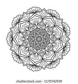 Mandala.Ornate Circular Mandala Design, Black and White Line Art,Indian Henna tattoo pattern or background.