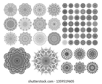 Mandalas for coloring book. Color pages set. Decorative round ornaments. Anti-stress therapy patterns. Weave design elements. Yoga logos, backgrounds for meditation. Unusual flowers. Oriental vector