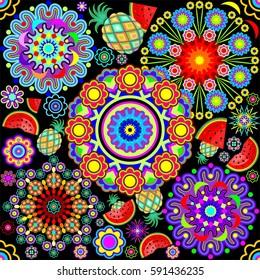 Mandalas & Exotic Fruits Pattern