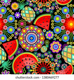 Mandalas Flowers and Exotic Fruits Vector Seamless Pattern
