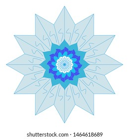 Mandala's image is a geometric symbol of a complex structure that is interpreted as a model of the universe. Mandala is elaborated in blue and blue.