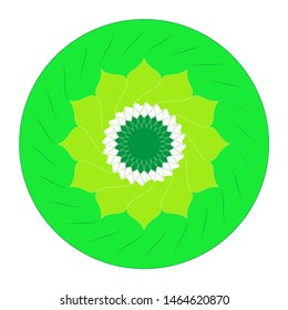 Mandala's image is a geometric symbol of a complex structure that is interpreted as a model of the universe. Mandala colored in green colors.