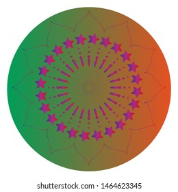 Mandala's image is a geometric symbol of a complex structure that is interpreted as a model of the universe. Mandala is painted in green and gradient colors.