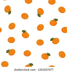 Mandarin, clementine, tangerine seamless pattern on white background. Colorful wallpaper. Vector illustration for fabric, wallpaper, textile, wrapping paper and more.