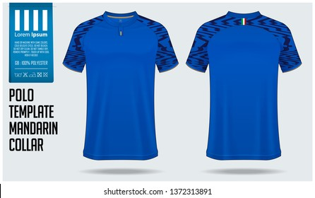 Mandarin Collar polo shirt mockup template design for soccer jersey, football kit or sportswear. T-shirt mock up for sport club. Sport uniform in front view and back view. Vector Illustration.