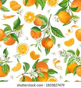 Mandarin Floral Pattern, Vector Seamless Fruit Background, Citrus Fruits, Flowers, Leaves, Limes Branches Texture. Watercolor Style Lemons. Vintage Lemon Design for Print, Wedding, Backdrop, Wallpaper
