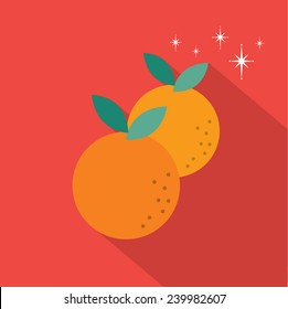 mandarin orange long shadow flat design vector/illustration