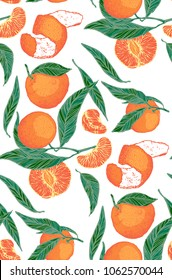 mandarin seamless pattern, vector illustration