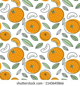 Mandarin seamless pattern. Vector tangerine. Hand drawn fresh tropical citrus fruit. Multicolored sketch background. Colorful doodle wallpaper. Orange and white print