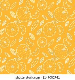 Mandarin seamless pattern. Vector tangerine. Hand drawn fresh tropical citrus fruit. Sketch background. Color doodle wallpaper. Orange and white print