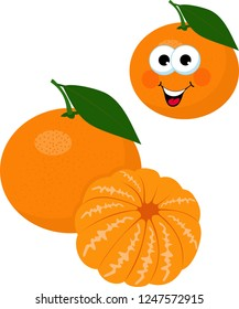 Mandarines, tangerine, clementine with leaves isolated on white background. Citrus fruit. Funny cartoon character. Vector Illustration