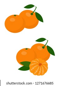 Mandarines, tangerine, clementine with leaves isolated on white background. Citrus fruit. Vector Illustration